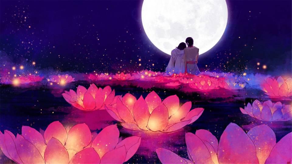 一对恋人在月光下偎依的图片图库