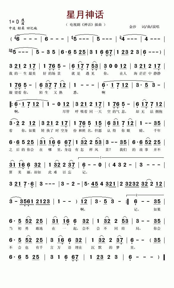 六孔竖笛筒音作2,按下图简谱吹星月神话.