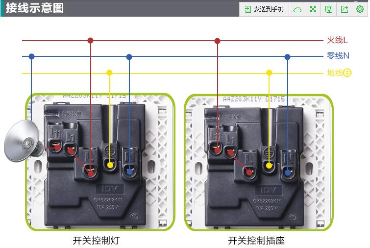 这里附上一张idv国际电工 一开五孔插座的接线图给您看.