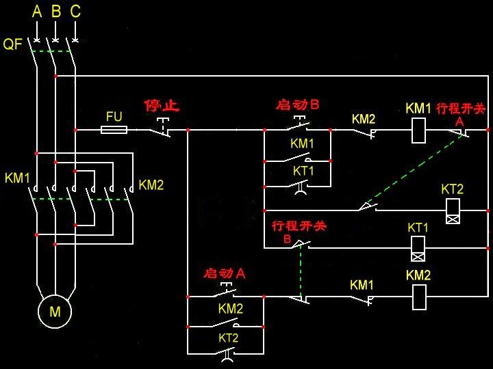 行程开关加时间继电器中间继电器控制三相电机双向延时停留正反转电路