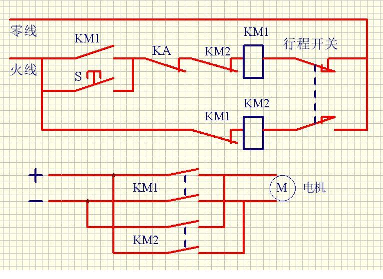 光电开关,行程开关控制直流电机运行,怎么接线?