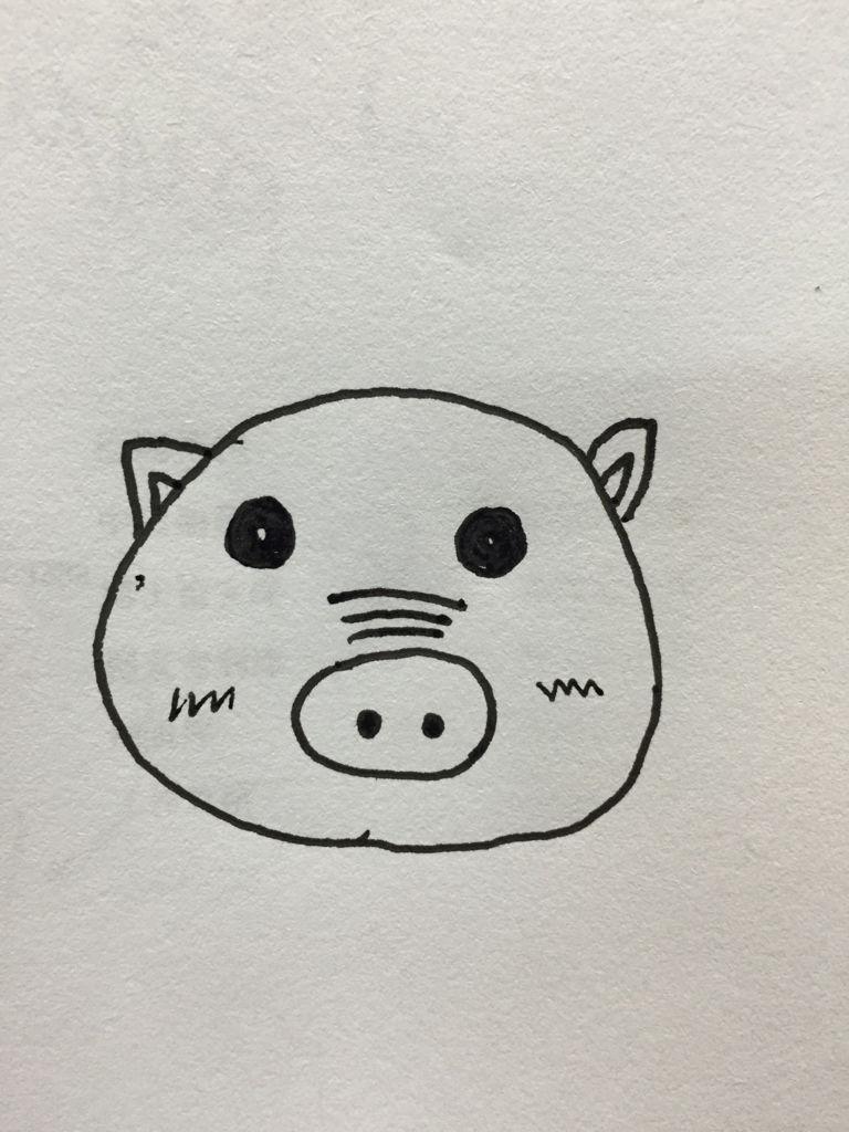 谁给我用笔画个猪头出来,要画的可爱点的