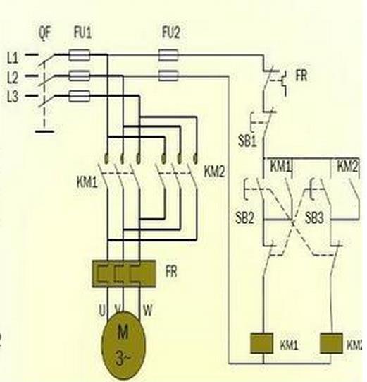 交流接触器控制电机正反转接线图,怎么画?
