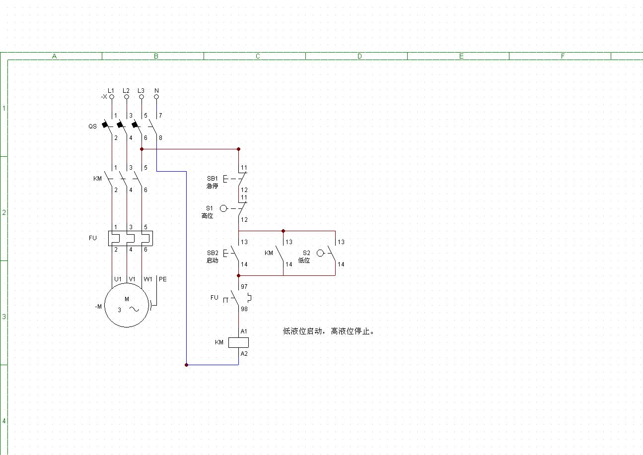 工地上自动控制水泵接线图如何?