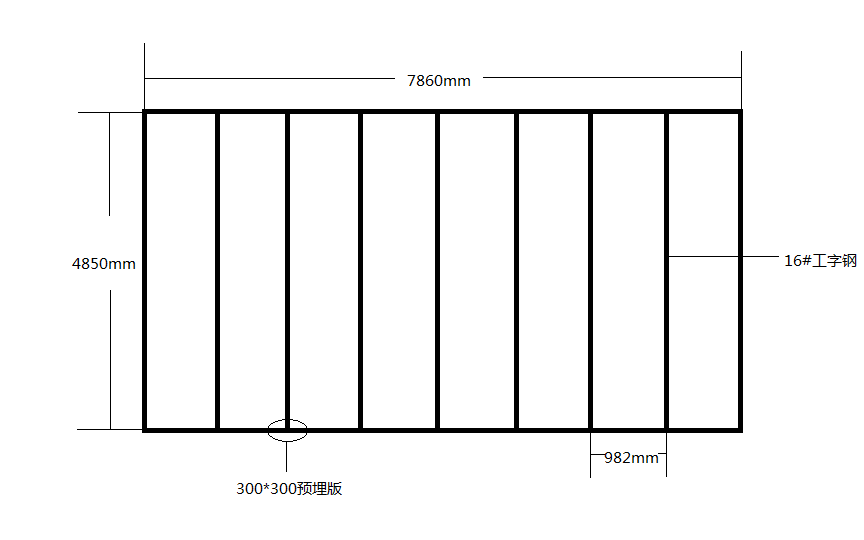 8m*7.6m的钢结构平台,用20#a型工字钢跨度4.8米一根,每空一米,7.