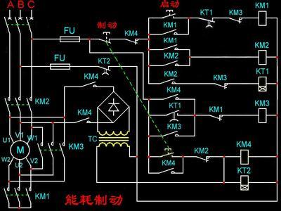 三相异步电动机控制电路,满足:y—三角形降压启动,停机时进行能耗制动