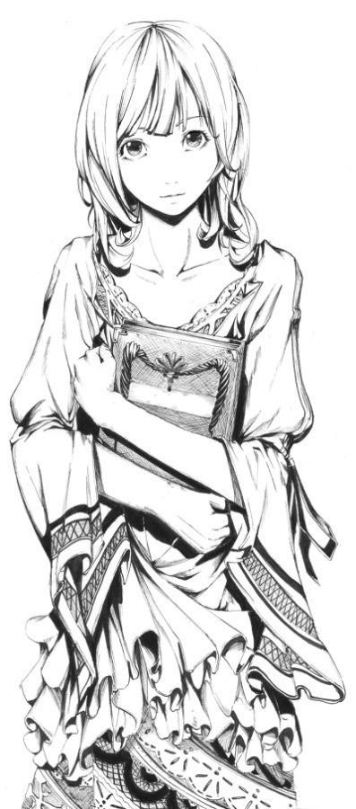 求下面这张手绘女孩背影的正面图
