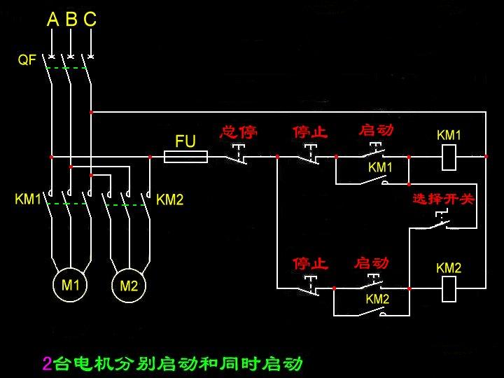 请教两台三相电动机同时启停也可以分别启停的电路图