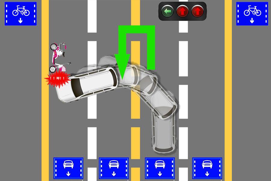 机动车在路口正常掉头,被电动车撞到右侧车头.责任怎么划分?