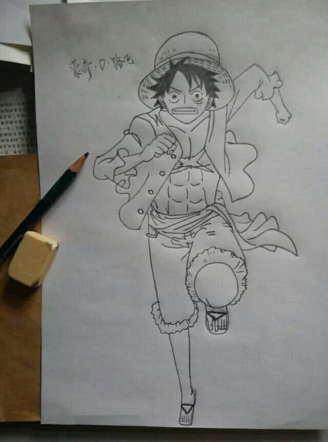 海贼王手绘铅笔画路飞霸王