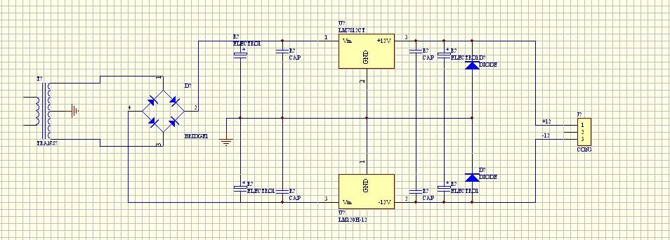 电源用的双15v,20w变压器经桥式整流正负12v,正负5v电压都输出正常.