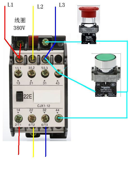 cj×1一22/22交流接触器接线图