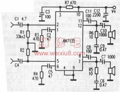 求用an7135功放集成块做的双声道电路图