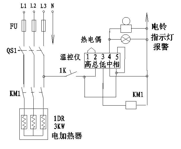 2510接触器与温控器实物接线图