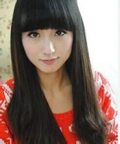 女生 想换个发型 中长发 不想要斜,齐刘海和中分 不遮住眼睛图片