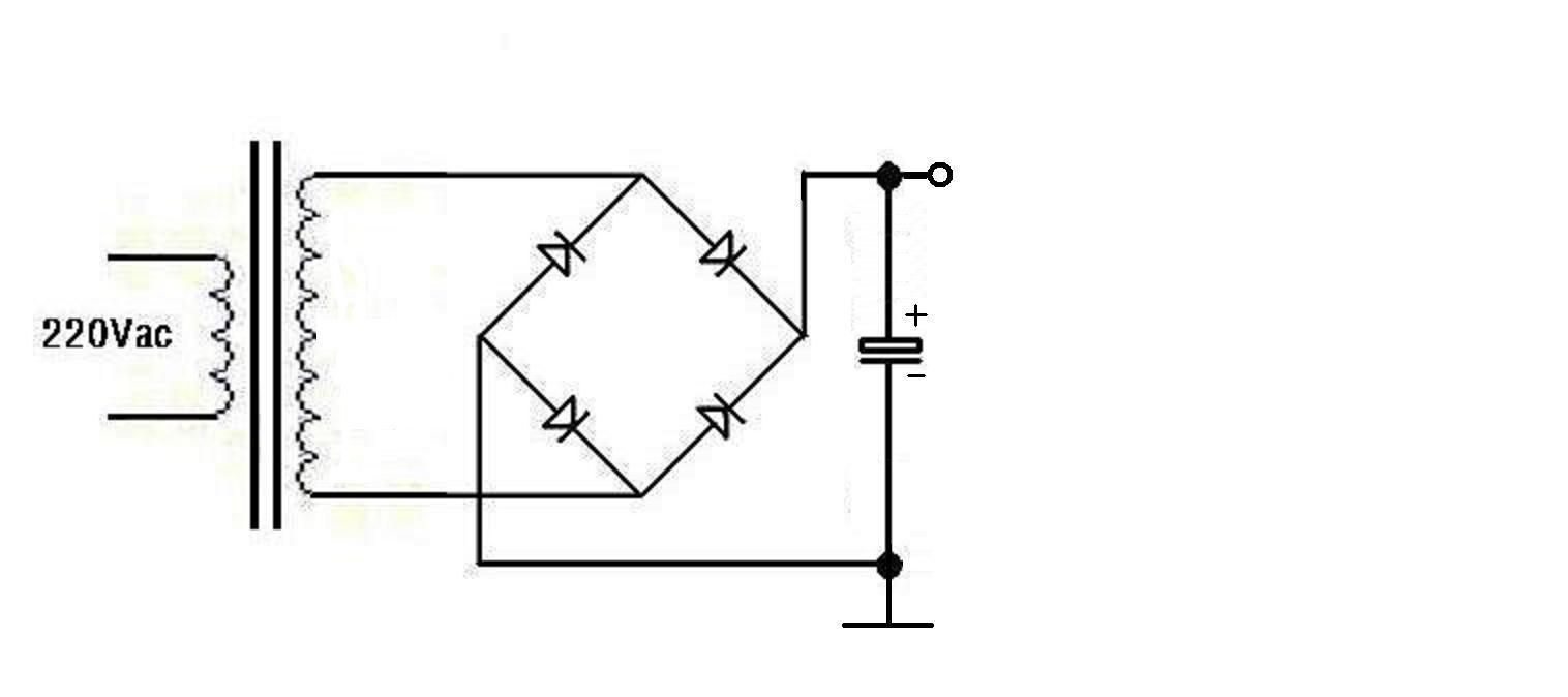全波整流和桥式整流的实用电路如下图(图中均带有滤波电容)——