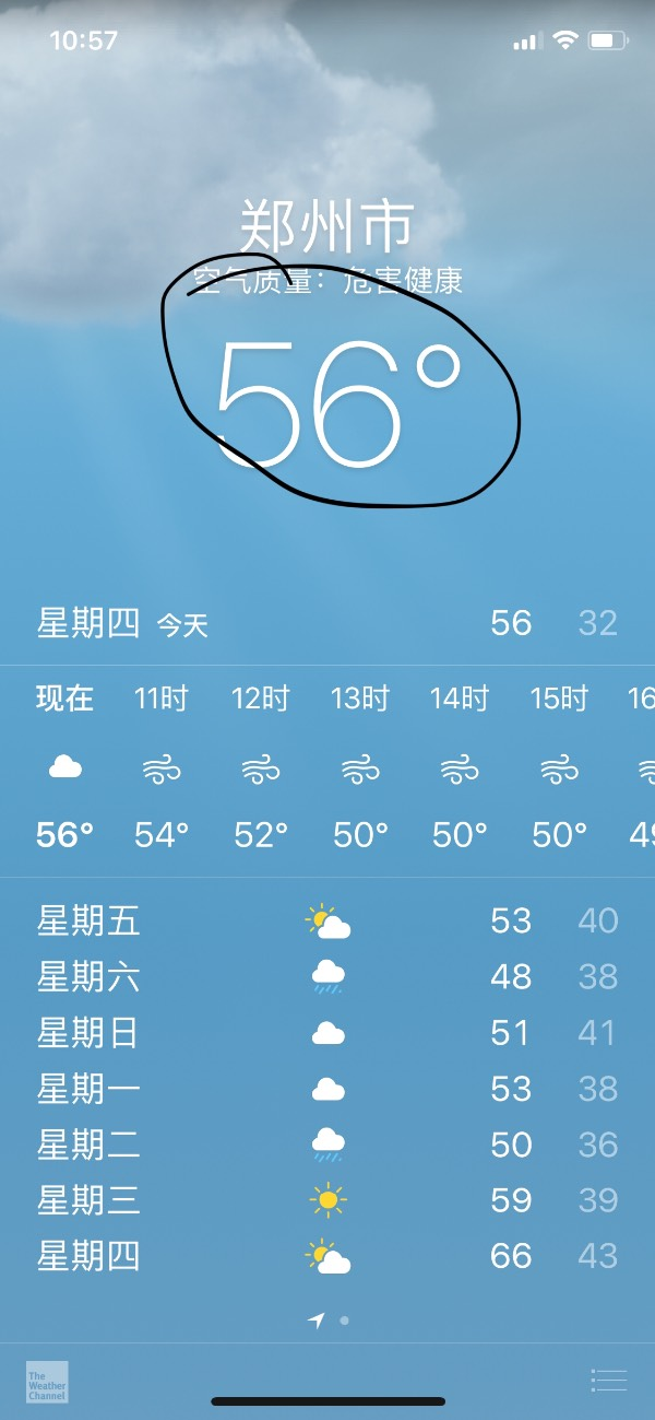 iphone自带天气上的数字是什么意思图片