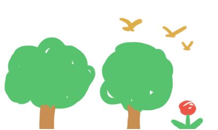 幼儿园,小班绘画领域,小鸟和大树图片