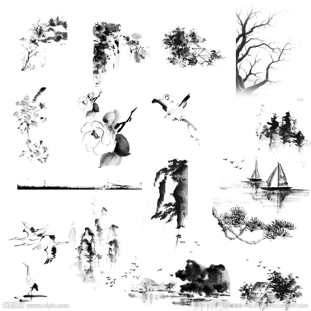 求古风元素的ps笔刷素材,例如:桃花瓣,玉璧,墨迹,金鱼