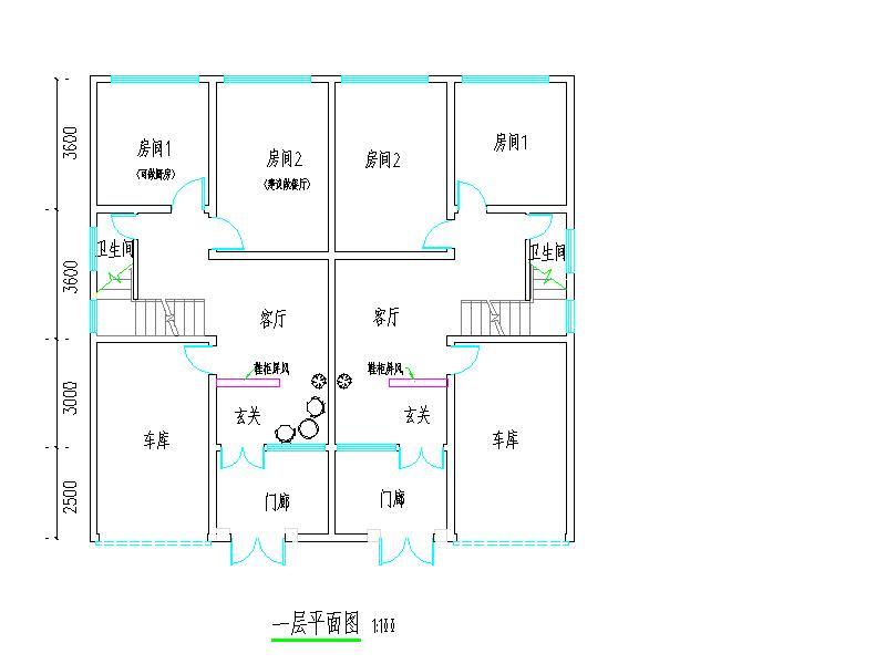 求农村房屋设计图 约6米宽,12米长,一楼要一车库 一厅