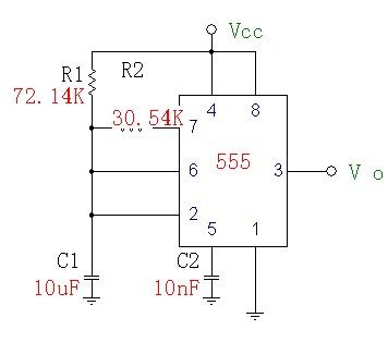 急求,555电路产生秒脉冲的电路图,电阻电容的具体值