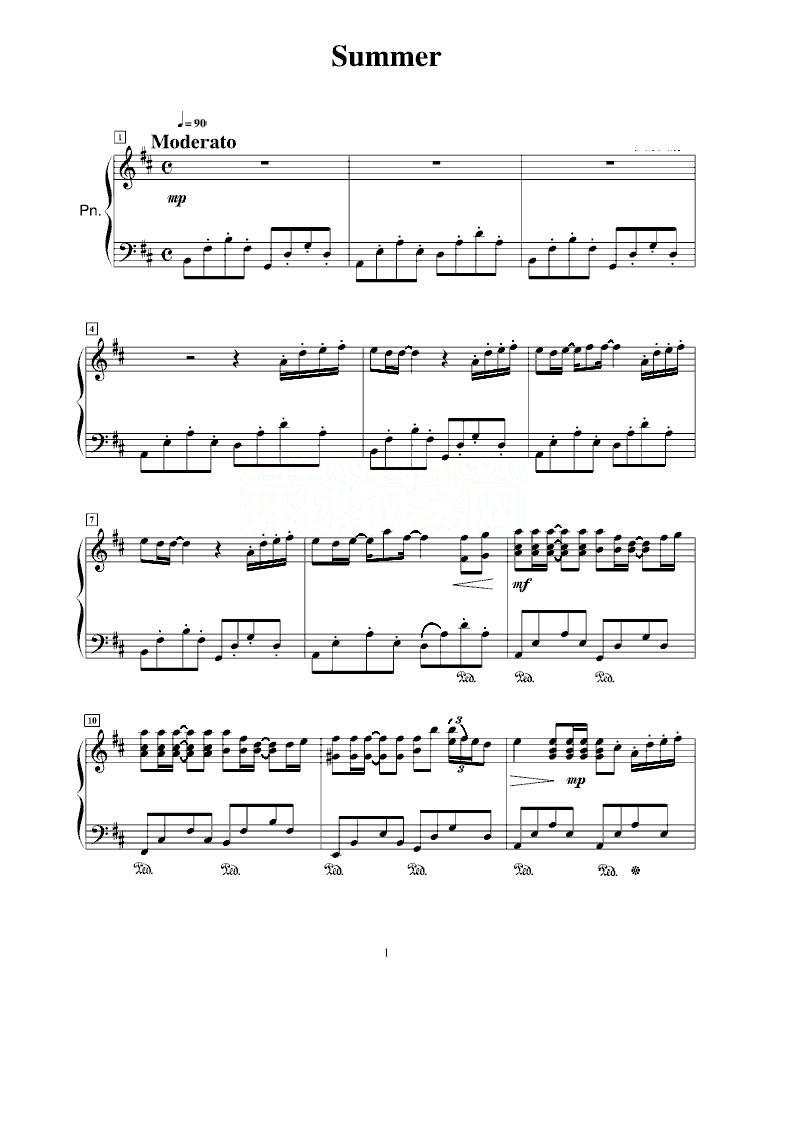 久石壤的summer 钢琴曲的踏板该怎么踩