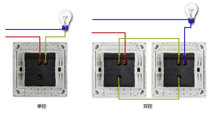 装墙壁开关插座面板 双开双控开关 怎样连线