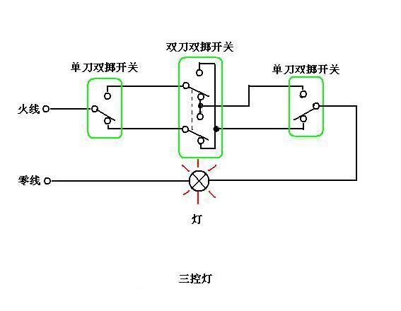 三地开关控制电路图怎么画