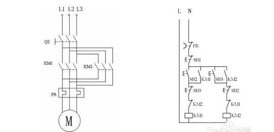 三相电机可以使用电路和行程开关来实现