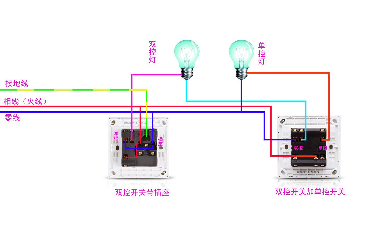 一开双控带五孔插座开关接二开双控开关线路应该怎样接?