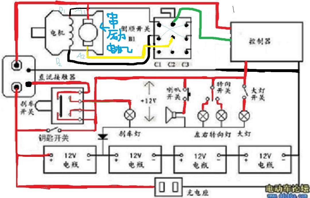 是以前老式三轮车的控制电路,可以倒车,现在已经淘汰了,线路相当简单