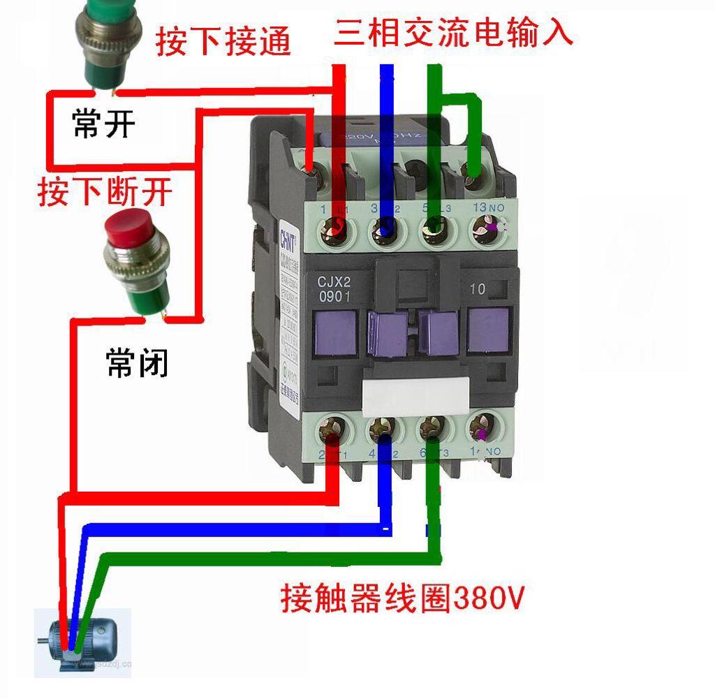 380v风机启停按钮开关怎么接线