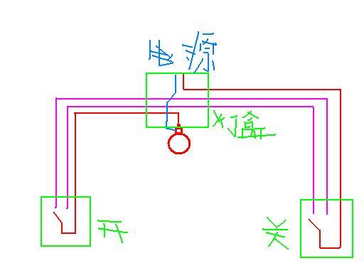怎样用双回路两个开关同时控制一盏灯我要电路图谢谢?