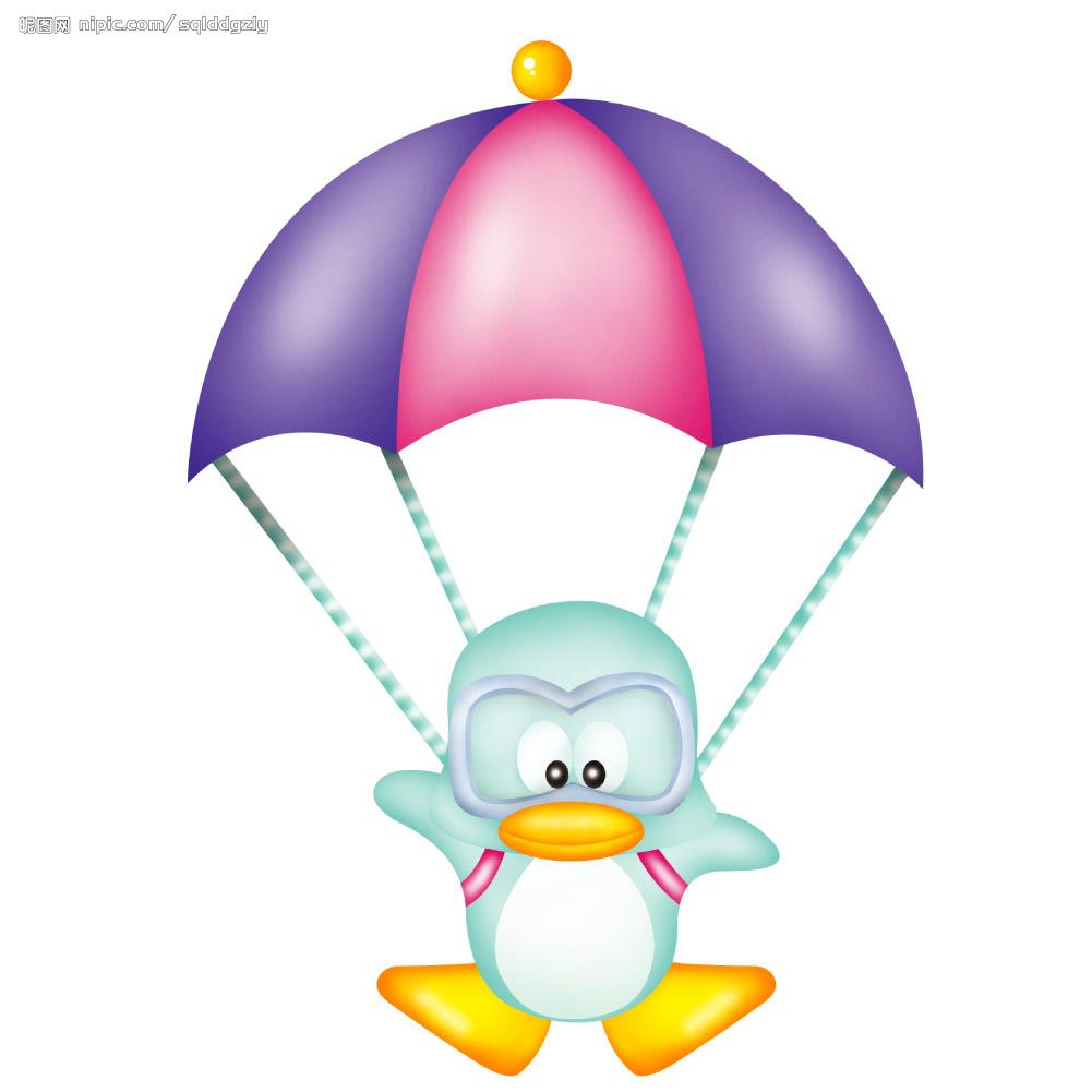 手绘卡通降落伞