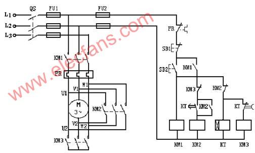 画一个37kw/380v三相电动机的星三角起动控制原理图,注明电机接线端