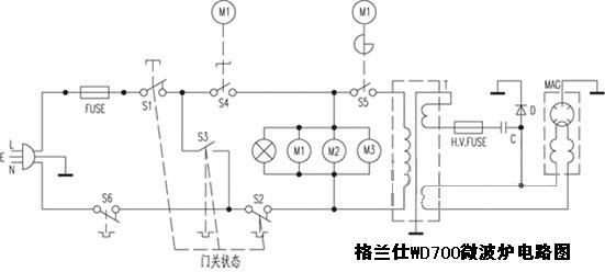最简单微波炉接线图