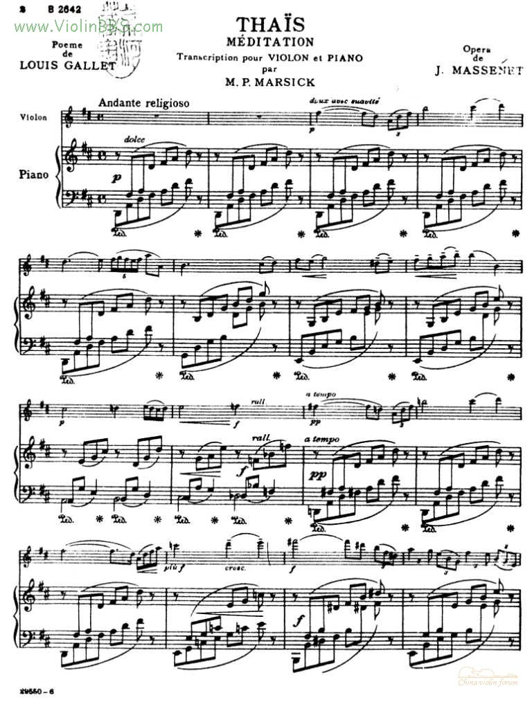 沉思 马斯涅 小提琴谱 钢琴伴奏谱
