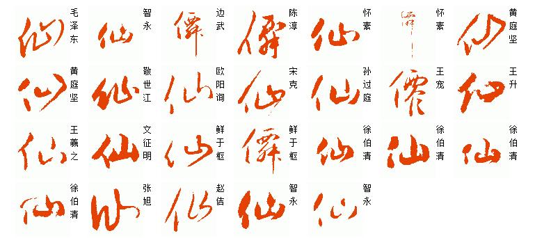 [仙]字草书的写法很多,现提供部分历代名家范例仅供参考.见图图片