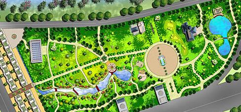 求ps景观公园平面效果图一张.彩图