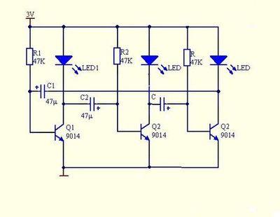 这个电路实现流水灯的原理是什么了? 如果电阻接成10k