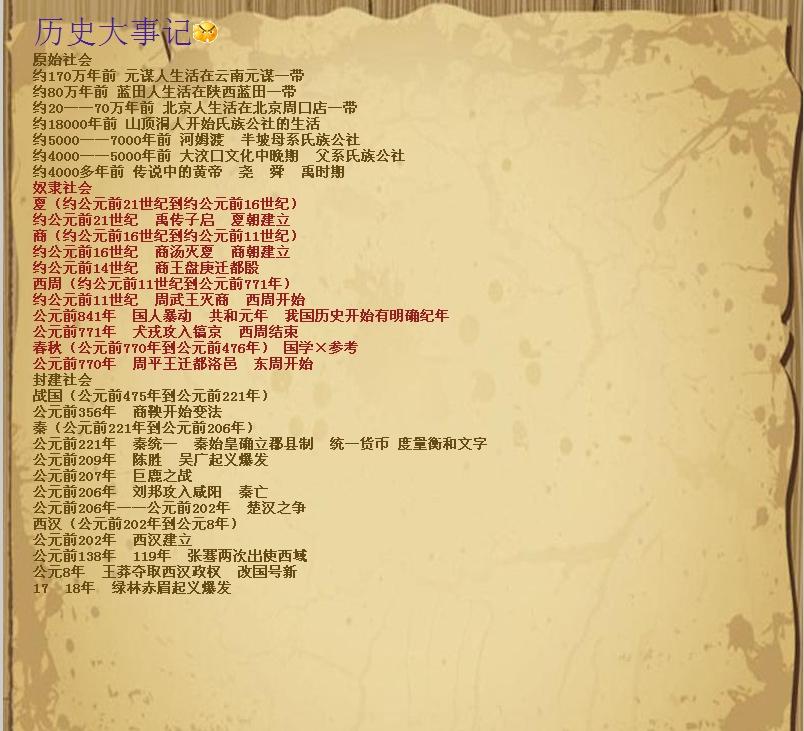 中国历史朝代歌的用口诀法