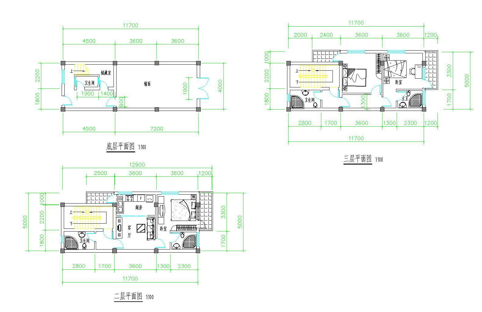 求助60平米房屋设计图纸长11.4米宽5.3米