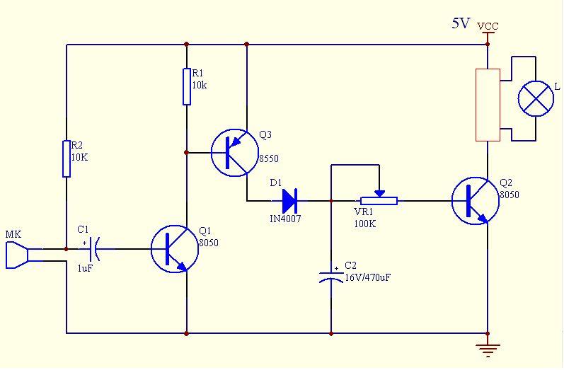 我需要一个5v供电的简单的声控灯电路,简单就好.急求谢谢