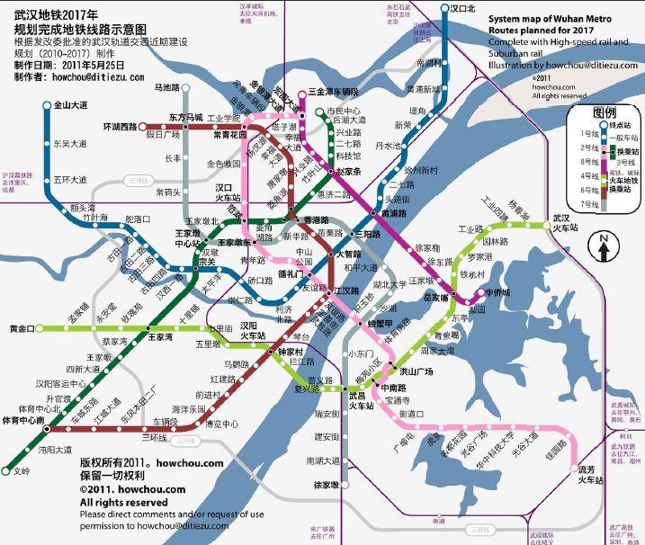 请问武汉轨道交通一号线的路线图
