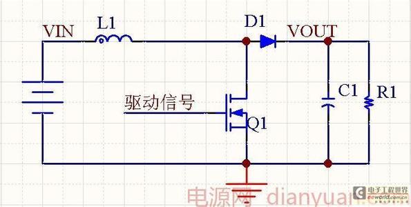 这是boost斩波电路的拓扑结构图