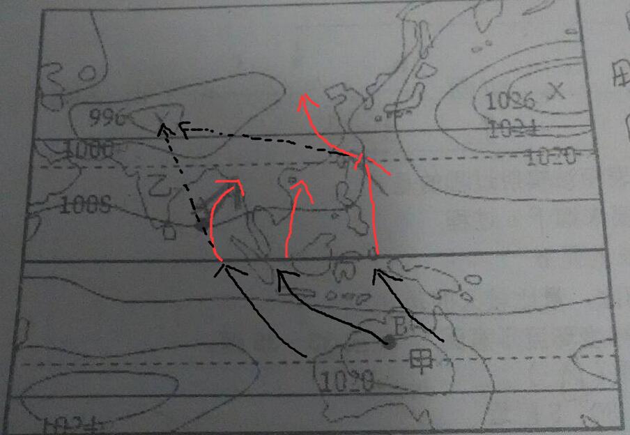 红线是实际风向,黑色虚线是不考虑地转偏向力的水平气压梯度力风向图片