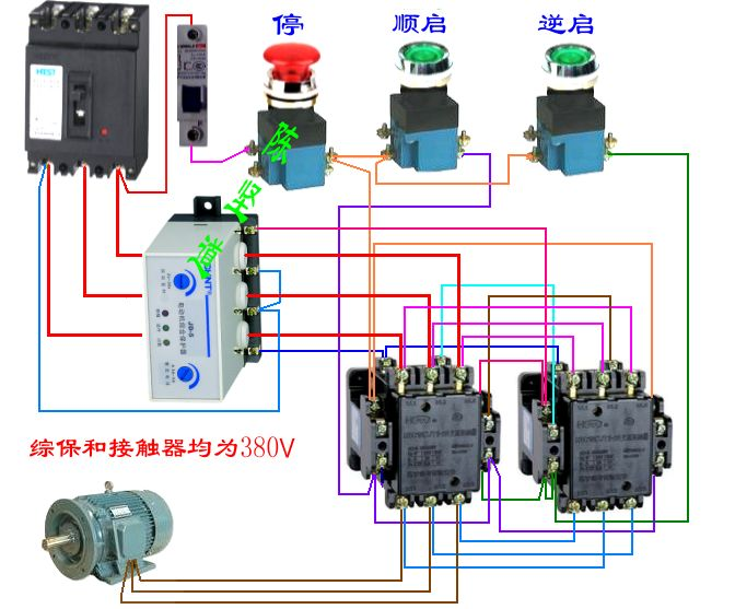 接触器一个电动机综合保护器一个时间继电器两个按钮一个停止指示灯一