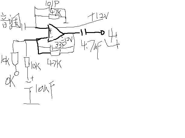 在音调板的输出加一个4倍运放放大,音调板输出接运放正向放大,OK板接运放反向放大,这样的效果是最好的,这是我画的图,你可以参考下。(图是单声道,另一声道相同,没安画图软件,所以用系统自带的画的不怎么好)当然了,如果音调板上有输出运放,也可以直接串一个10K电阻接在输出运放的反向输入端。有什么不明白的可以问我。希望能帮到你!