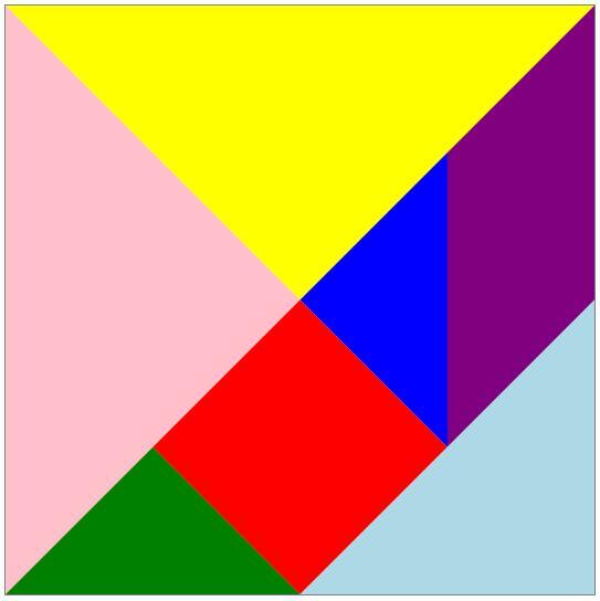 请你用7块七巧板拼成一个正方形,并涂上美丽的颜色