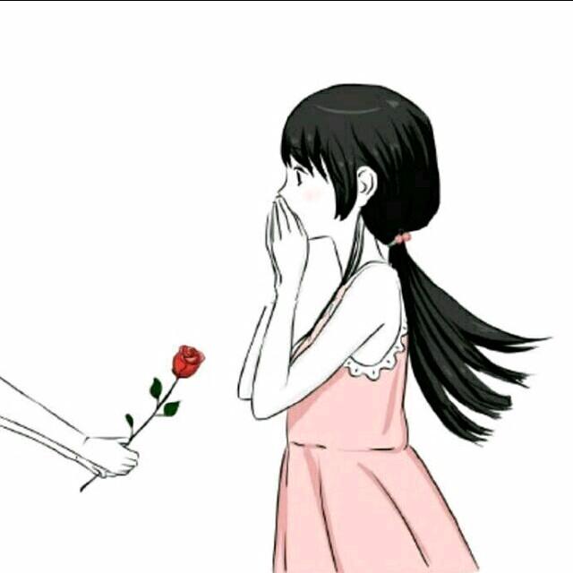 微信情侣头像.一男孩送花.一女孩收花